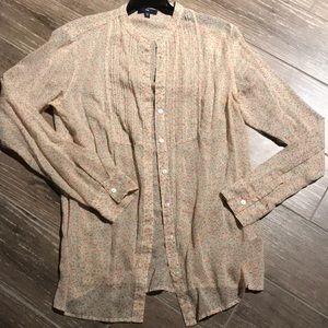Gap floral peasant-style blouse/button-down
